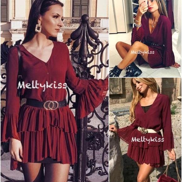 1e2e7e82f31722 Zara Dresses   Nwr Aw18 Contrasting Pleated Dress Xssmxl   Poshmark